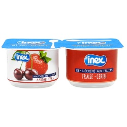 Yoghurt aardbei/kers Inex 100g